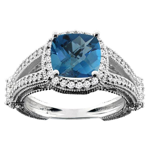 4.10 CTW London Blue Topaz & Diamond Ring 14K White Gold - REF-55K8W