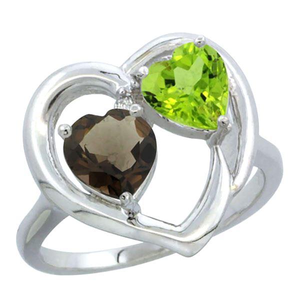 2.61 CTW Diamond, Quartz & Peridot Ring 14K White Gold - REF-33W9F