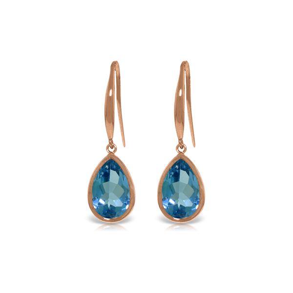Genuine 5 ctw Blue Topaz Earrings 14KT Rose Gold - REF-35N2R