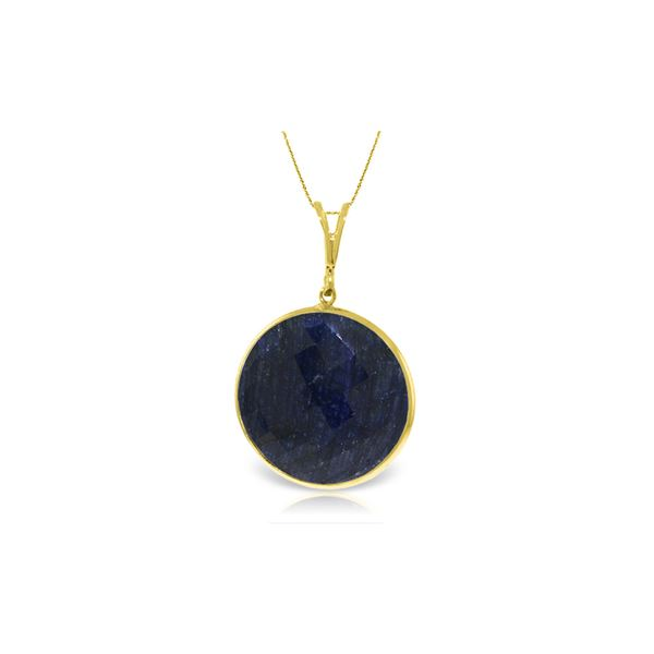 Genuine 23 ctw Sapphire Necklace 14KT Yellow Gold - REF-48A3K