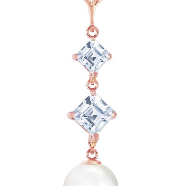 Genuine 3.25 ctw Pearl & Aquamarine Necklace 14KT Rose Gold - REF-26M6T