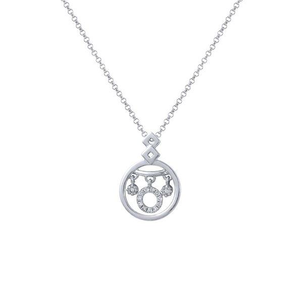 Natural 0.08 CTW Diamond Necklace 14K White Gold - REF-24F3M