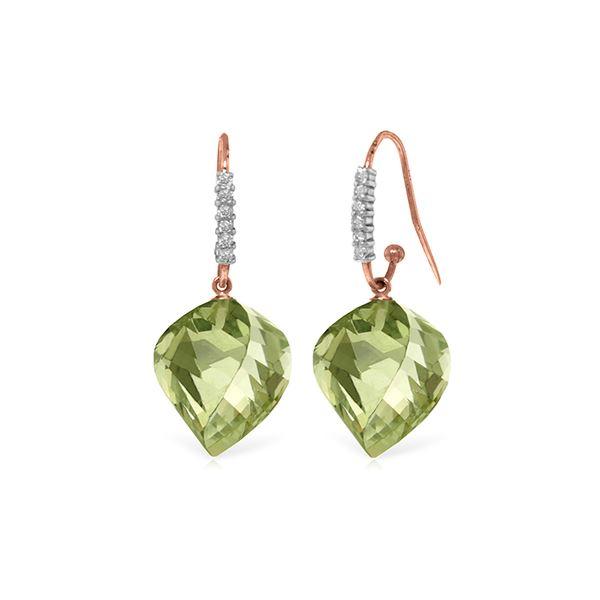 Genuine 26.18 ctw Amethyst & Diamond Earrings 14KT Rose Gold - REF-66Z5N