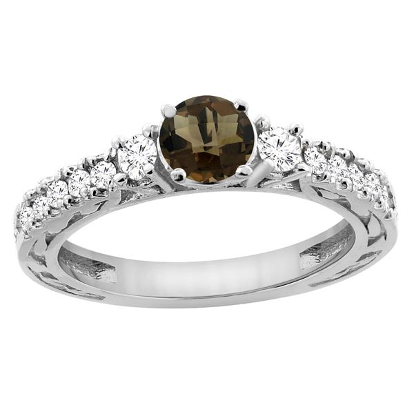 1.35 CTW Quartz & Diamond Ring 14K White Gold - REF-79R5H
