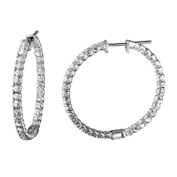1.89 CTW White Round Diamond Hoop Earring 14K White Gold - REF-200T2X
