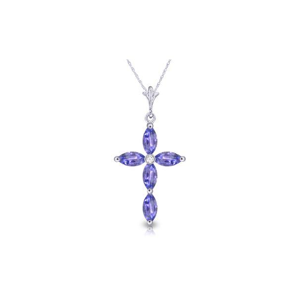Genuine 1.23 ctw Tanzanite & Diamond Necklace 14KT White Gold - REF-38K6V