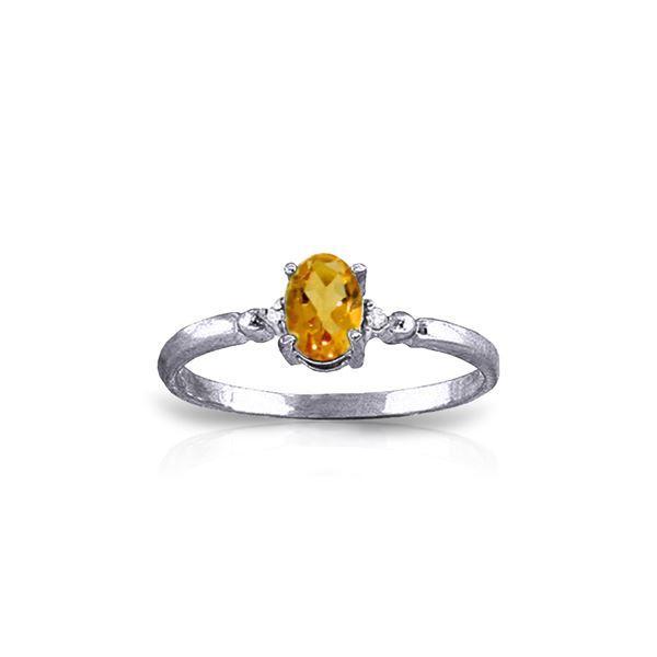 Genuine 0.46 ctw Citrine & Diamond Ring 14KT White Gold - REF-27A3K