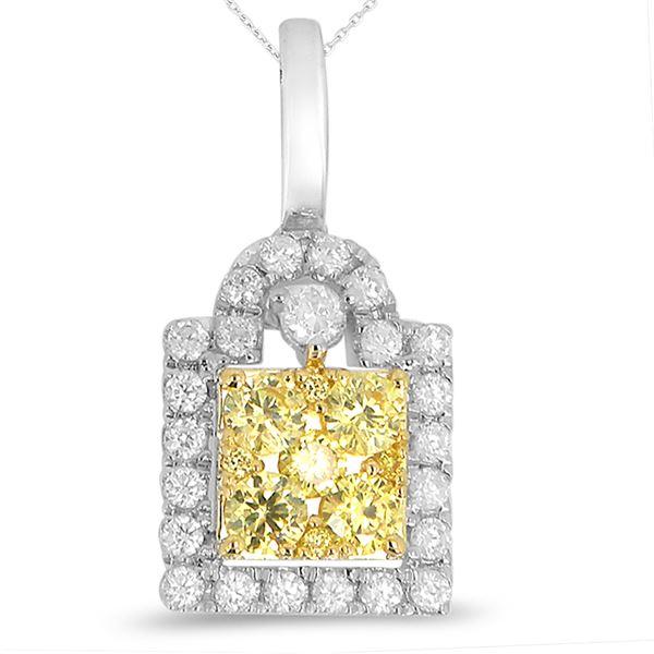 Natural 0.66 CTW Diamond & Pendant 14K White Gold - REF-75K6R