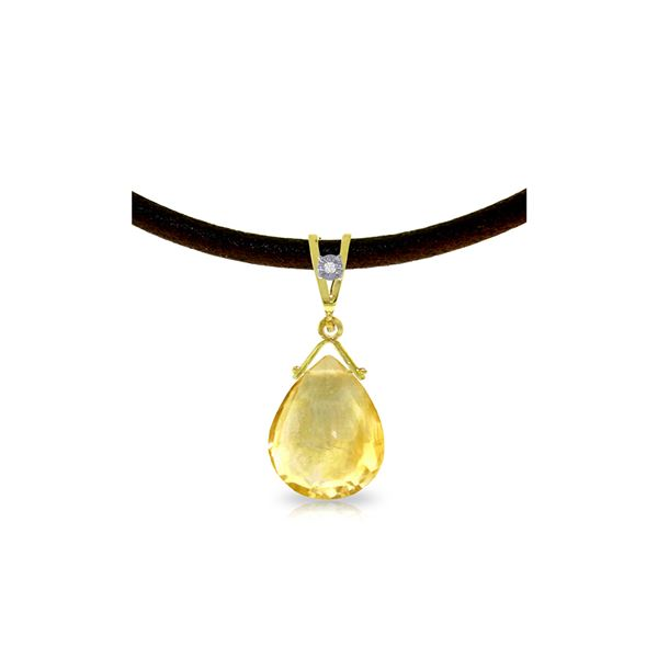 Genuine 6.51 ctw Citrine & Diamond Necklace 14KT Yellow Gold - REF-26P9H