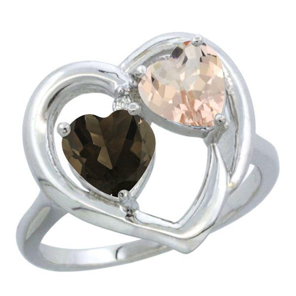 1.91 CTW Diamond, Quartz & Morganite Ring 10K White Gold - REF-26R5H