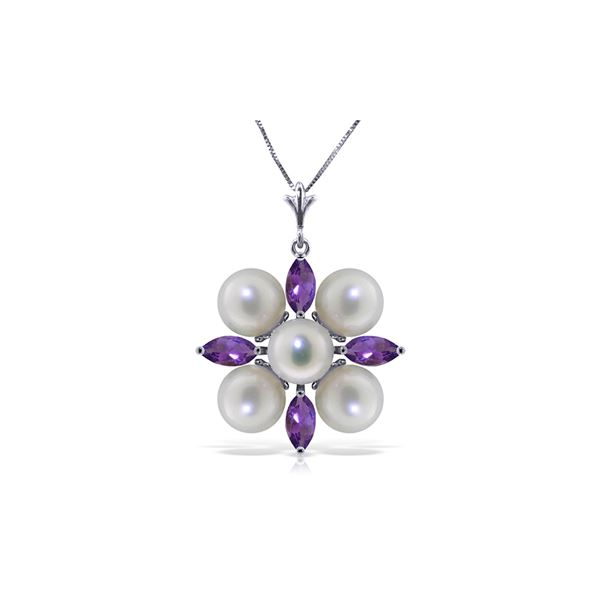 Genuine 6.3 ctw Amethyst & Pearl Necklace 14KT White Gold - REF-59T2A