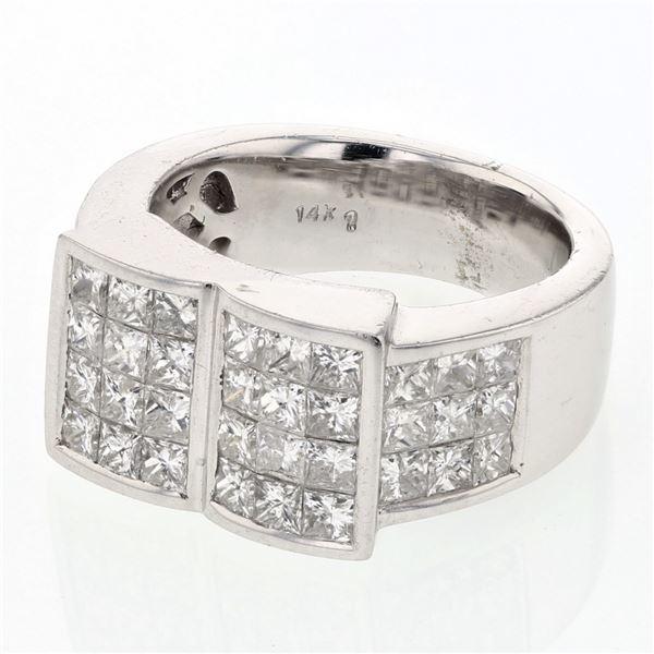 Natural 2.91 CTW Princess Diamond Ring 14K White Gold - REF-418N5Y