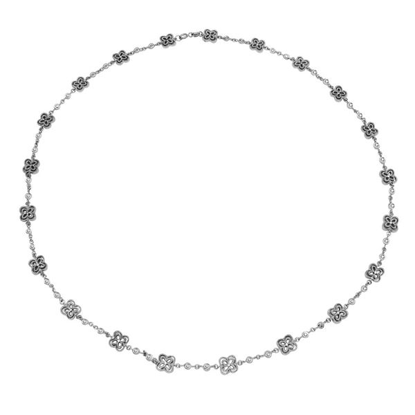 Natural 0.97 CTW Diamond Necklace 18K White Gold - REF-241T2X