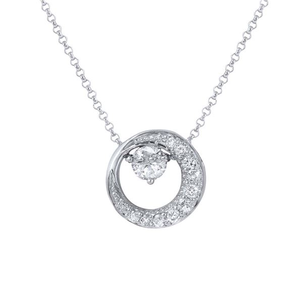 Natural 0.66 CTW Diamond Necklace 14K White Gold - REF-85W5H
