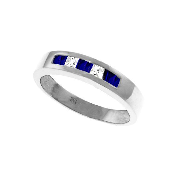 Genuine 0.63 ctw Sapphire & White Topaz Ring 14KT White Gold - REF-49W2Y