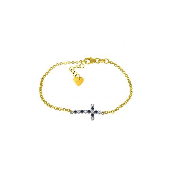 Genuine 0.24 ctw Sapphire & Diamond Bracelet 14KT Yellow Gold - REF-57V6W