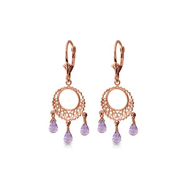 Genuine 3.75 ctw Amethyst Earrings 14KT Rose Gold - REF-43Z8N