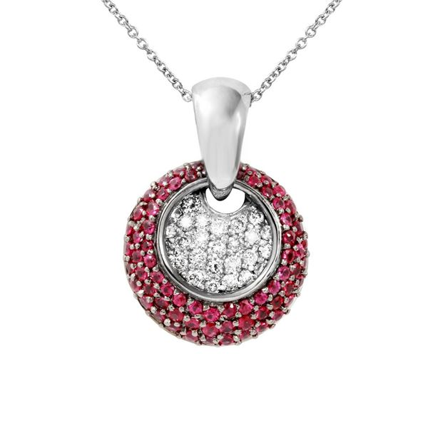 Natural 1.64 CTW Ruby & Diamond Necklace 14K White Gold - REF-100N8Y