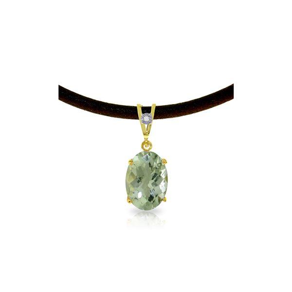 Genuine 7.56 ctw Green Amethyst & Diamond Necklace 14KT Yellow Gold - REF-35X5M