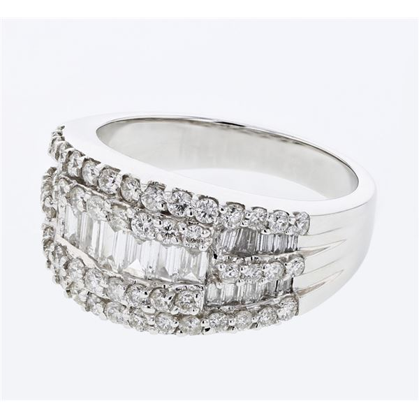 Natural 1.67 CTW Baguette & Diamond Ring 18K White Gold - REF-249W3H