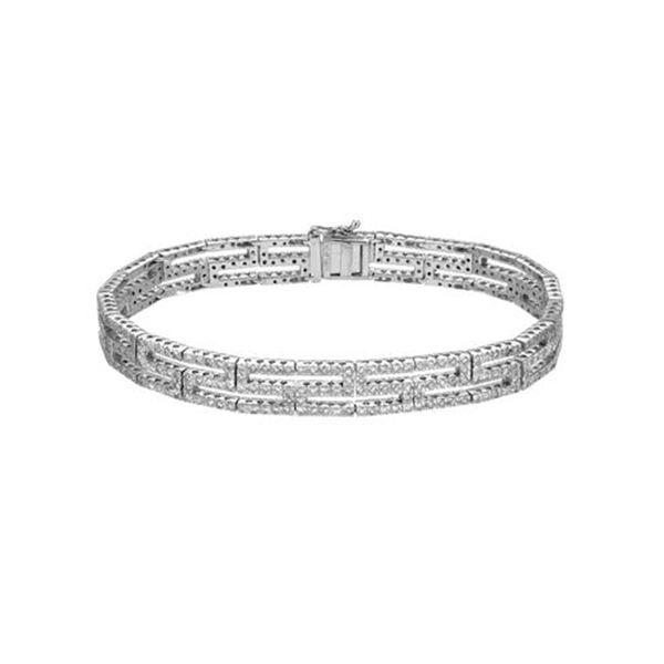 Natural 3.09 CTW Diamond & Bracelet 18K White Gold - REF-442K8R