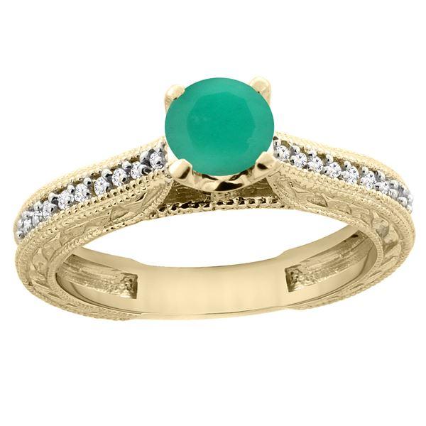 0.66 CTW Emerald & Diamond Ring 14K Yellow Gold - REF-54H4M