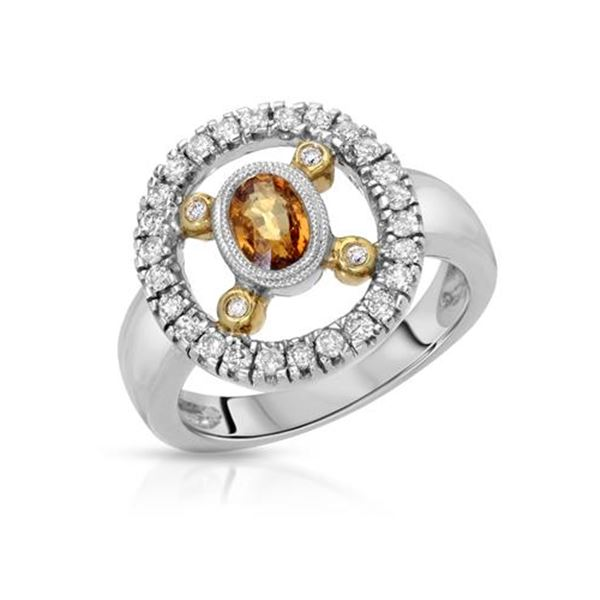 Natural 1.08 CTW Yellow Sapphire & Diamond Ring 14K Two Tone Yellow Gold - REF-68T4X