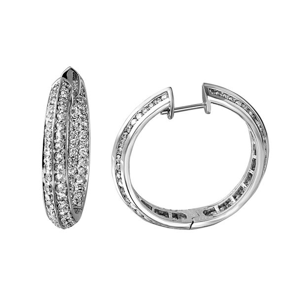 Natural 3.35 CTW Diamond Earrings 14K White Gold - REF-324N9Y