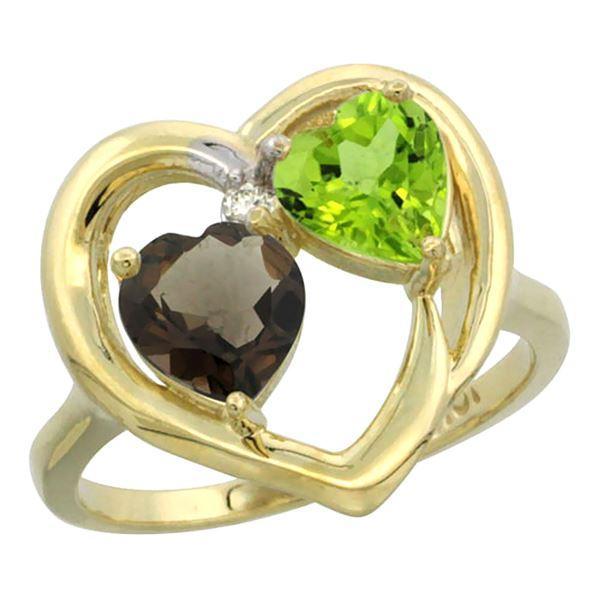 2.61 CTW Diamond, Quartz & Peridot Ring 10K Yellow Gold - REF-23A7X