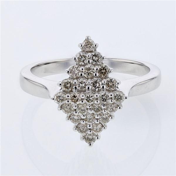 Natural 0.54 CTW Diamond Ring 14K White Gold - REF-62T3X