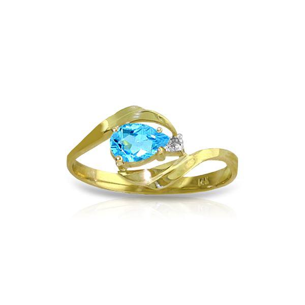 Genuine 0.41 ctw Blue Topaz & Diamond Ring 14KT Yellow Gold - REF-26W6Y