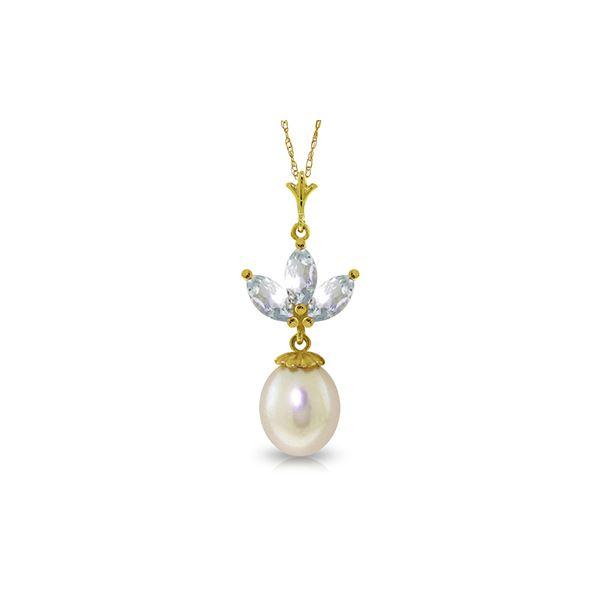 Genuine 4.75 ctw Aquamarine & Pearl Necklace 14KT Yellow Gold - REF-26R2P