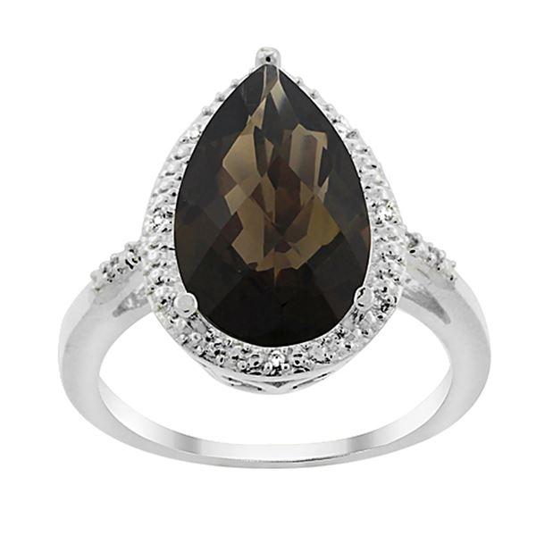 5.55 CTW Quartz & Diamond Ring 14K White Gold - REF-44M9K