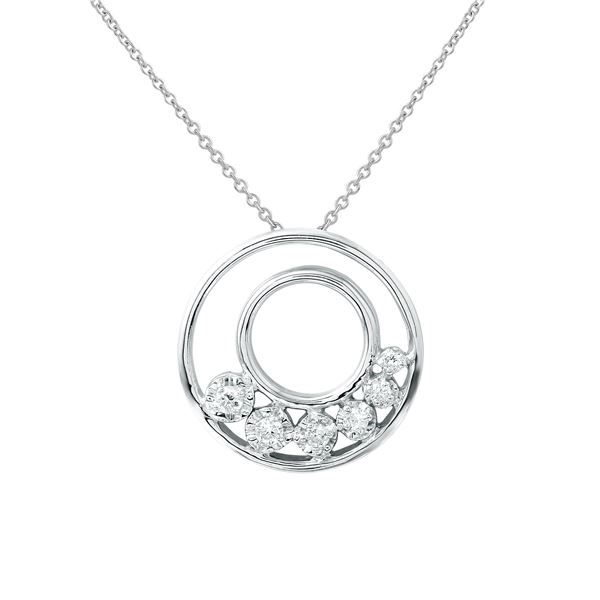 Natural 0.15 CTW Diamond Necklace 14K White Gold - REF-37T8X