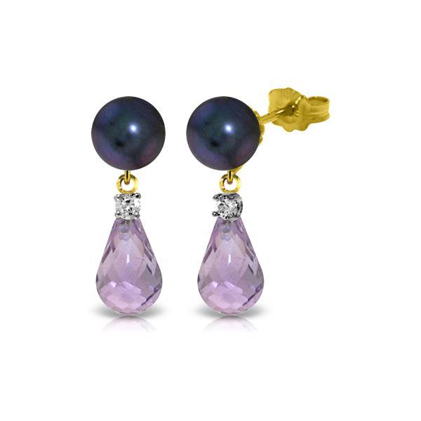 Genuine 6.6 ctw Black Pearl, Amethyst & Diamond Earrings 14KT Yellow Gold - REF-27F6Z