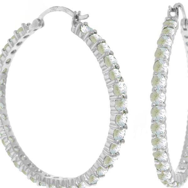 Genuine 6 ctw Aquamarine Earrings 14KT White Gold - REF-122M2T
