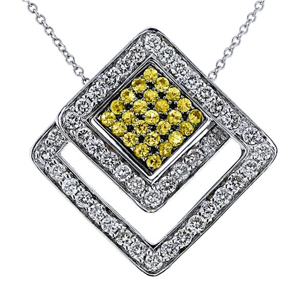 Natural 1.41 CTW Yellow Sapphire & Diamond Necklace 14K Two Tone Yellow Gold - REF-112T5X