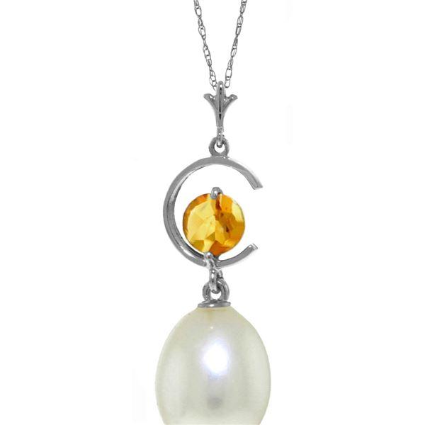 Genuine 4.5 ctw Pearl & Citrine Necklace 14KT White Gold - REF-20X5M