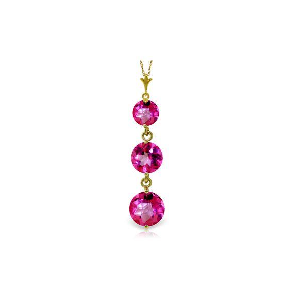 Genuine 3.6 ctw Pink Topaz Necklace 14KT Yellow Gold - REF-24Z4N
