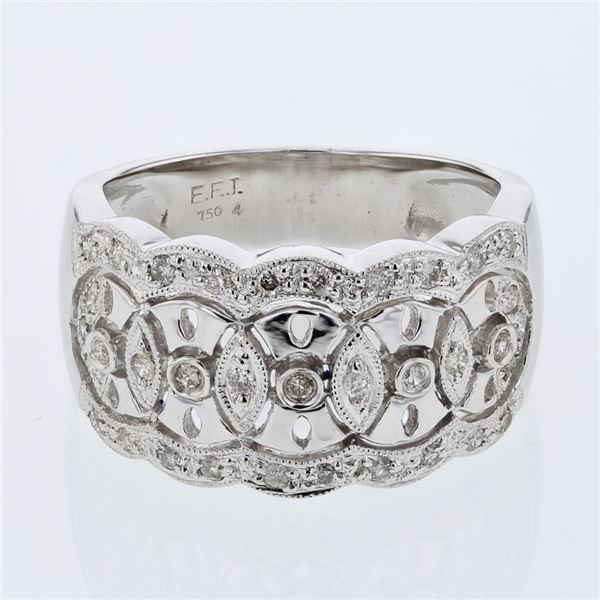 Natural 0.30 CTW Diamond Ring 18K White Gold - REF-80T3X