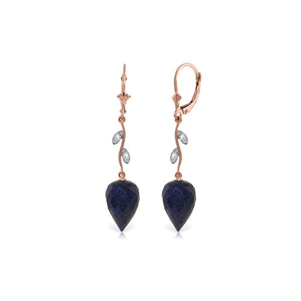 Genuine 25.72 ctw Sapphire & Diamond Earrings 14KT Rose Gold - REF-53K4V