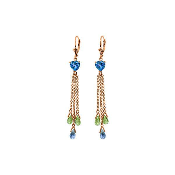 Genuine 9.5 ctw Blue Topaz & Peridot Earrings 14KT Rose Gold - REF-62W2Y