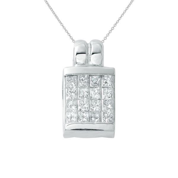 Natural 0.66 CTW Princess Diamond & Pendant 18K White Gold - REF-99T9X