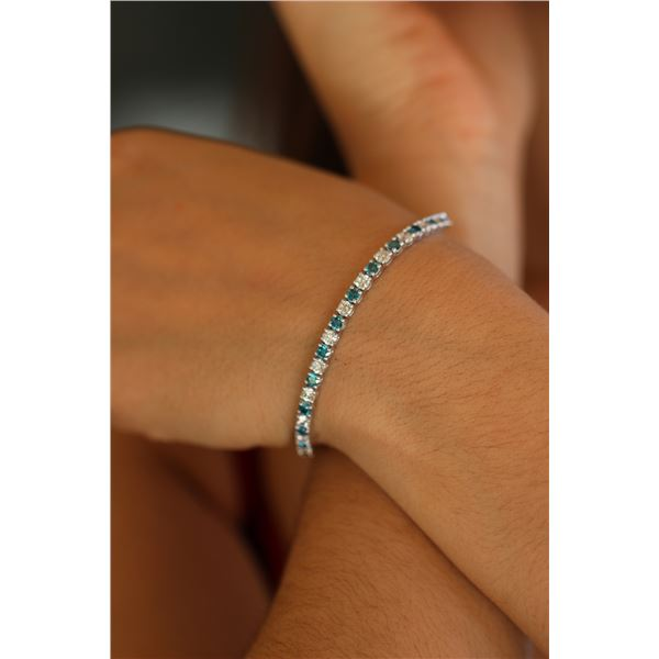Natural 6.16 ctw White & Blue Diamond Eternity Tennis Bracelet 14K White Gold - REF-418K2W