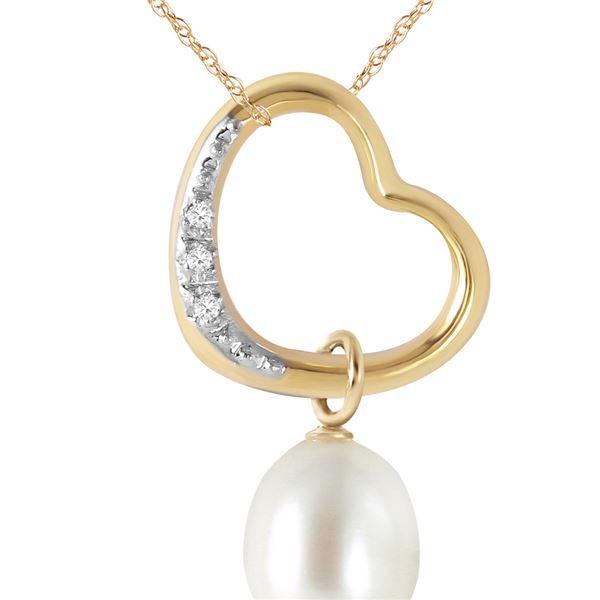 Genuine 4.03 ctw Pearl & Diamond Necklace 14KT Yellow Gold - REF-39X2M