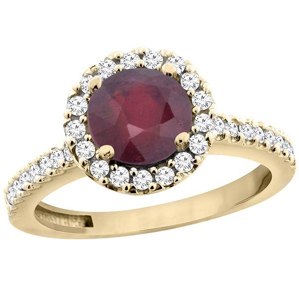 1.43 CTW Ruby & Diamond Ring 14K Yellow Gold - REF-53K3W