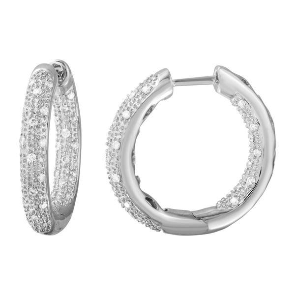 0.46 CTW White Round Diamond Hoop  Earring 14K White Gold - REF-100K2M