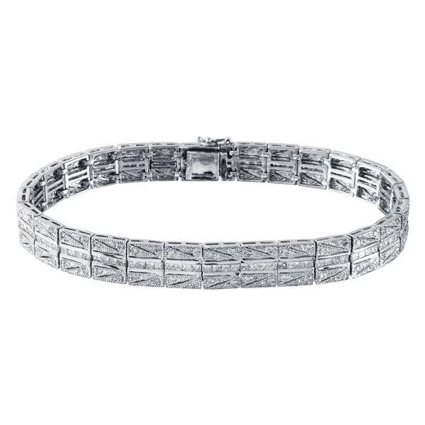 Natural 2.78 CTW Diamond & Princess Diamond Bracelet 14K White Gold - REF-420W3H