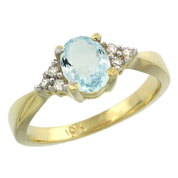 0.77 CTW Aquamarine & Diamond Ring 10K Yellow Gold - REF-30X4M