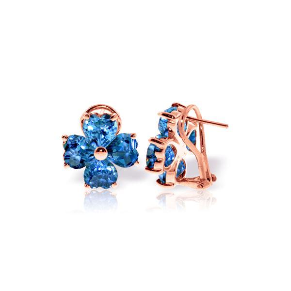 Genuine 7.6 ctw Blue Topaz Earrings 14KT Rose Gold - REF-80R6P
